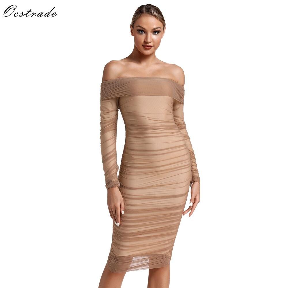 Ocstrade nouveauté 2019 Tulle châtaigne épaule dénudée Sexy moulante robe de Club de fête