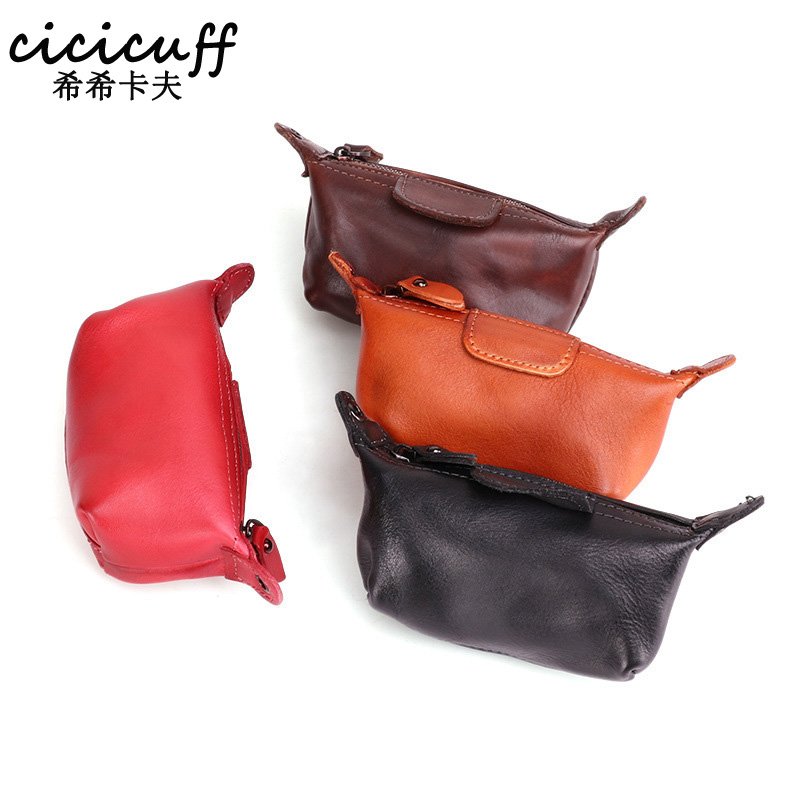 Genuine Cowhide Leather Dumplings Coin Purse Women Small Wallet Change Purse Mini Zero Wallet Female For Pouch Bags Storgage Bag