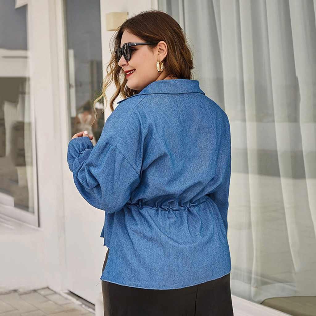 Vrouwen Plus Size Tops Nieuwe Effen Kleur Lantaarn Lange Mouwen Sjerpen Knop Vest Herfst Winter Fashion Casual Korte Blouse # D