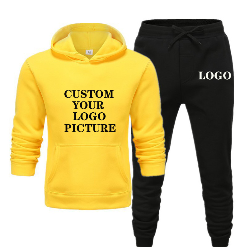 New Brand Men Tracksuit Autumn Winter Jogging Sportswear Fahion Printed Hoodies Pants Set Customized Your Logo Picture