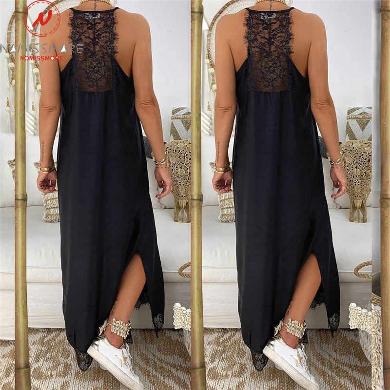 Wanita Musim Panas Longgar Long Gaun Seksi Sling Leher V Tanpa Lengan Ankle-Length Dress Dekorasi Renda Tinggi Celah Gaun Warna Solid gaun