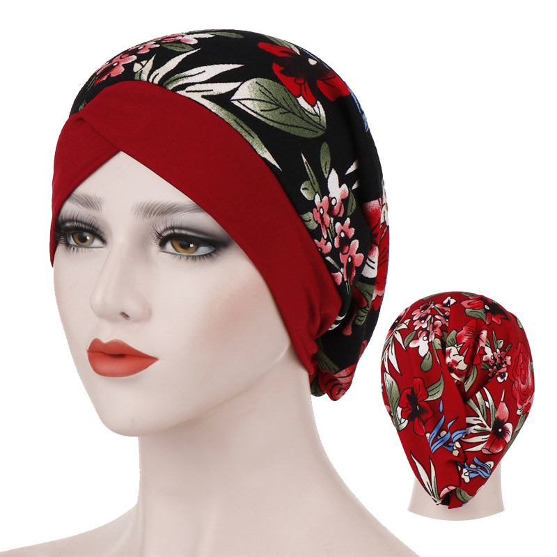 Malaysian Turban For Woman Cotton Print Inner Hijab Caps Forehead Cross Flowers Hijab Bonnet Islamic Wrap Head Scarf Turbante