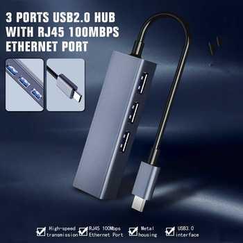 DM CHB002 3 Ports USB Hub with RJ45 100Mbps Ethernet Port USB2.0 Extender Extension Connector Adapter for Macbook Laptop