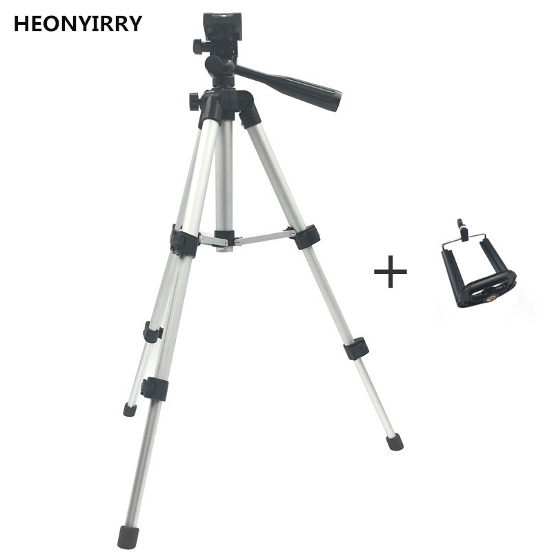 Professional Foldable Camera Tripod Holder Stand Screw 360 Degree Fluid Head Tripod Stabilizer Aluminum with Phone Holder