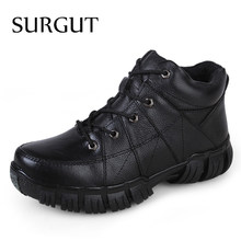 SURGUT Merk Mannen Laarzen Big Size 38-47 Mannen Herfst Winter Laarzen Lace Up Casual Ankle Snowboots Mannen mode Werk Lederen Schoenen Man(China)