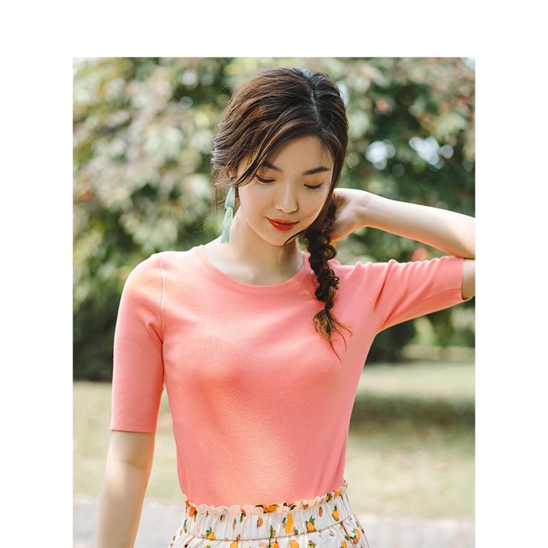 INMAN  Solid O-neck Fashion Retro Hongkong Style Slim Short Sleeve Women Pullover