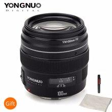 YONGNUO 100MM YN100mm F2 büyük diyafram orta telefoto ana canon lensi EF dağı 5D 5D IV 1300D T6 760D 1300D nikon kamera