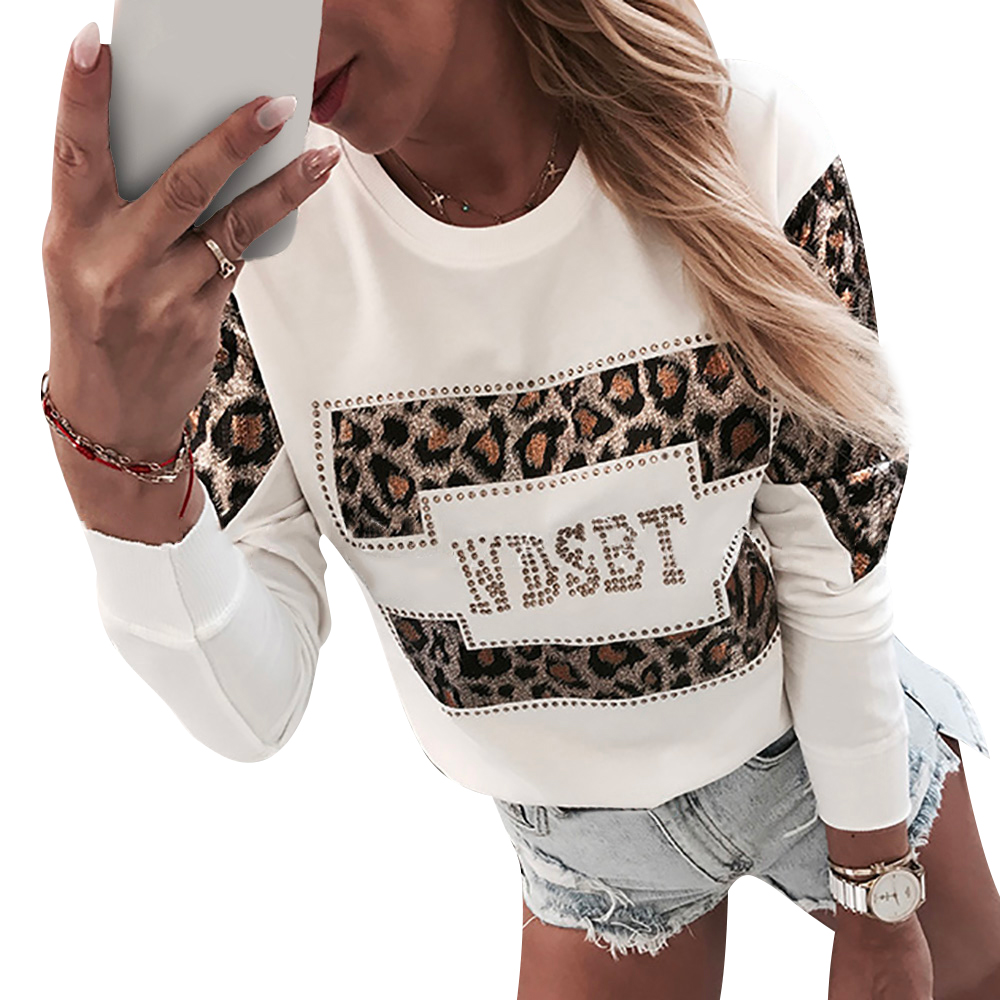 NYC Women Pullover Leopard Printed White Sweatshirt Autumn Winter Long Sleeve Blouse Ladies O Neck Casual Hoodie Tops D30