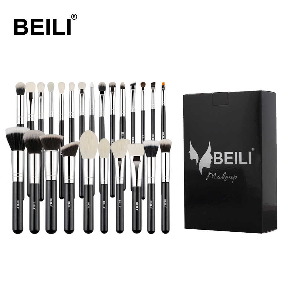 BEILI Black Goat hair Professional Makeup Brushes set Foundation Concealer Eye shadow Blending Cosmetic Brush  pinceaux maquilla