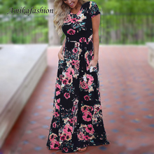 Maxi Women Long Dress 2019 Summer Floral Print Boho Beach Dress Short Sleeve Evening Party Dress Tunic Vestidos Plus Size XXXL