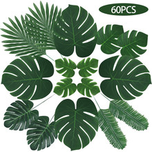 60 Pcs 6 Kinds Monstera Artificial Palm Leaves Tropical Plant Faux Stems Hawaiian Party Decorations Jungle Beach Theme Table
