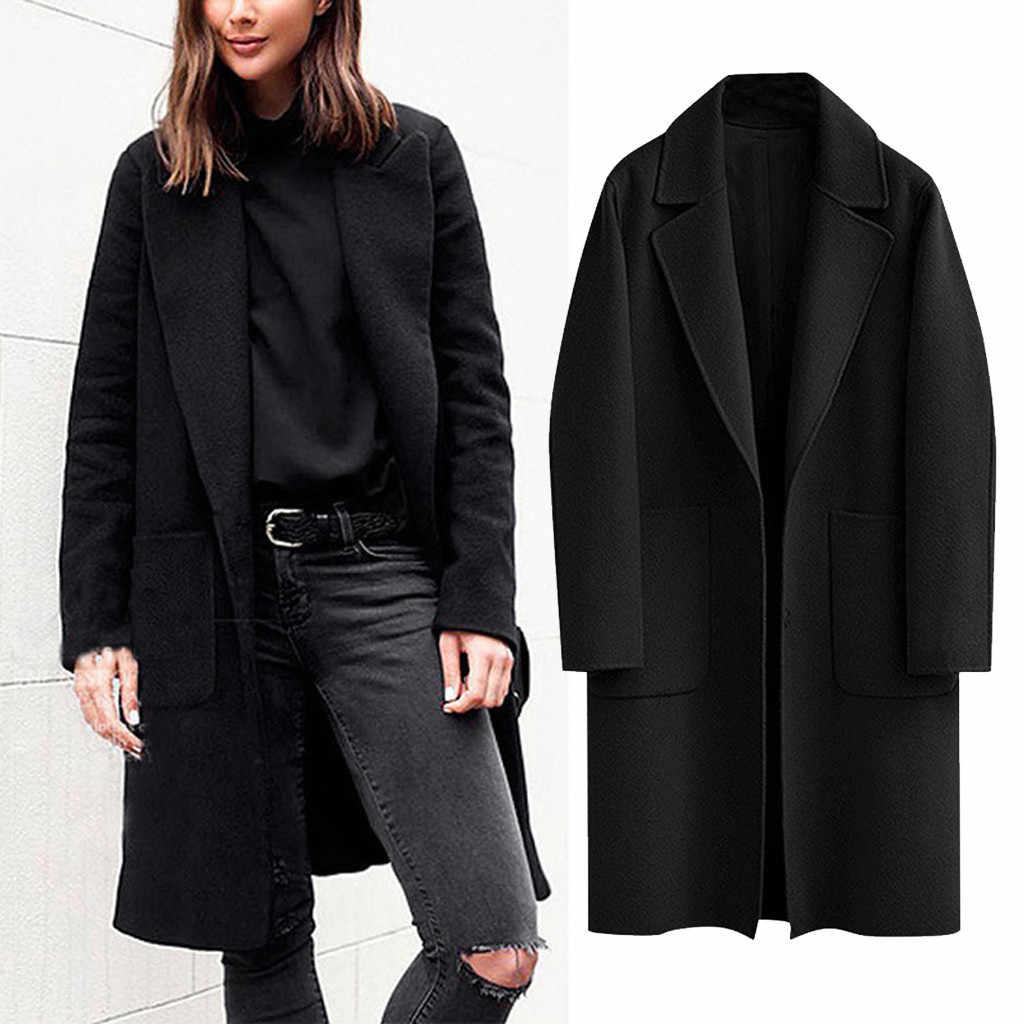 2019 neue Frauen Lange Hülse Drehen-Unten Kragen Winter Revers Taste Lange Trenchcoat Jacke Damen Parka Weiblichen Mantel outwear