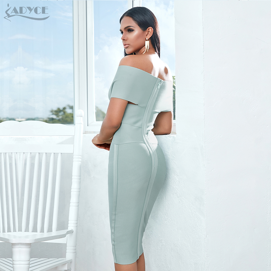 Image 4 - ADYCE New Summer Off Shoulder Bandage Dress Women 2020 Sexy Short