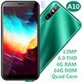 A10 quad core 4 GRAMM 64G ROM Smartphones 13MP 6.0