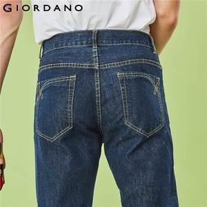 Image 5 - Giordano Men Jeans Denim Jeans Elastic Mid Rise Narrow Feet Quality Cotton Denim Jeans Pantalones Whiskering Denim Clothing