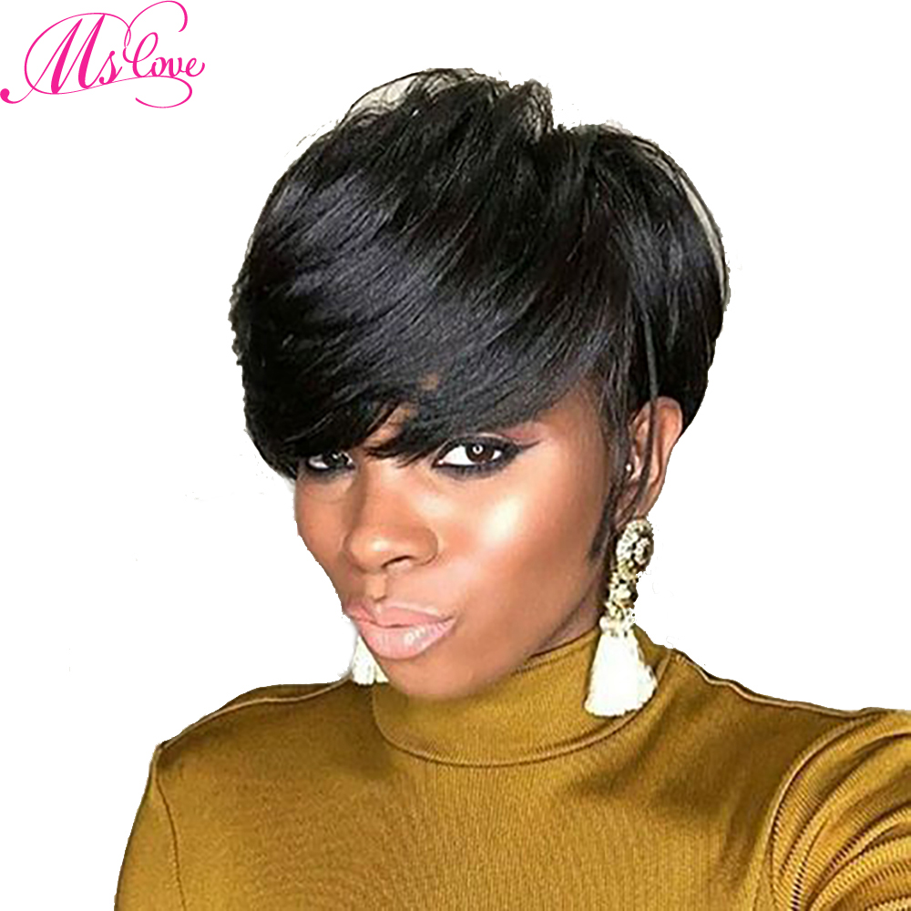Ms Love Short Human Hair Wigs Straight Brazilian Wig For Black Women Non Remy Human Hair Wig