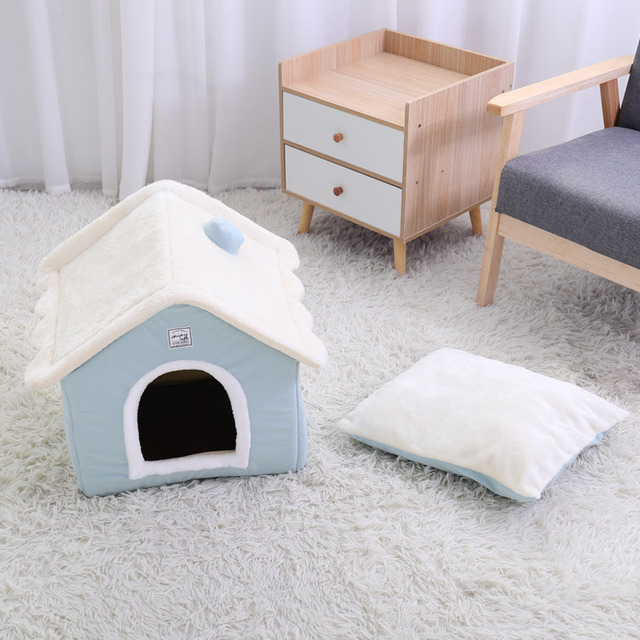 HOOPET Dog House Indoor Warm Kennel Pet Cat Cave Nest Rabbit Nest Washable Removable Mat Cozy Sleeping Bed For Cats 3