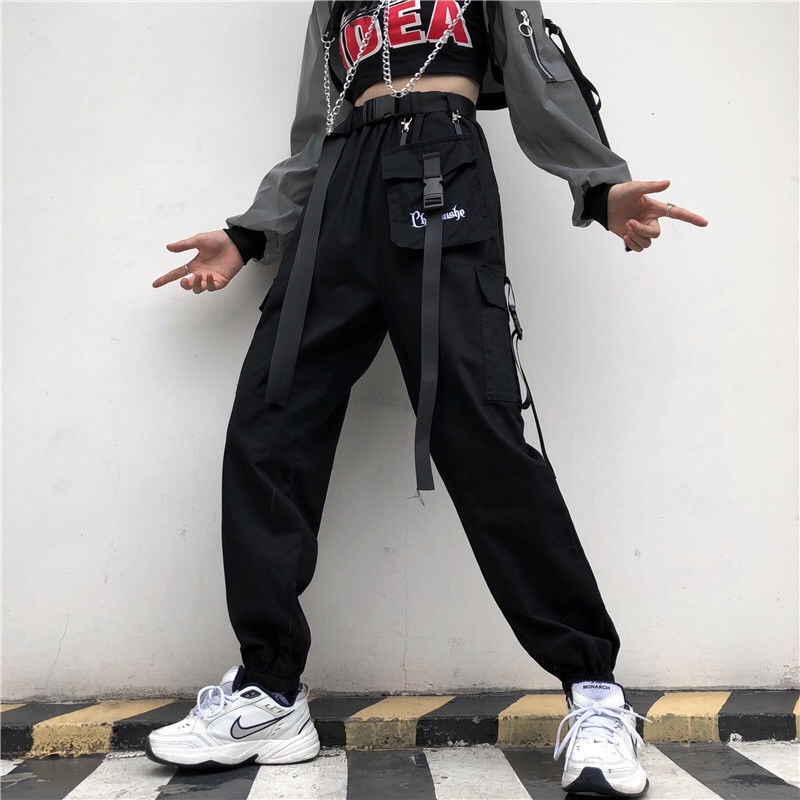 EACHIN Fashion Women Streetwear Cargo Pant Korean Wide Leg Elastic Waist Harem Pant Female Casual Loose Jogger Trouser With Belt