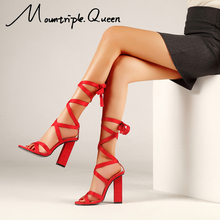 Shoes Women New Leisure High Heels PVC Sandal Transparent Sandals Red Lace-Up Wedges Thin Belt Solid Black Party Size