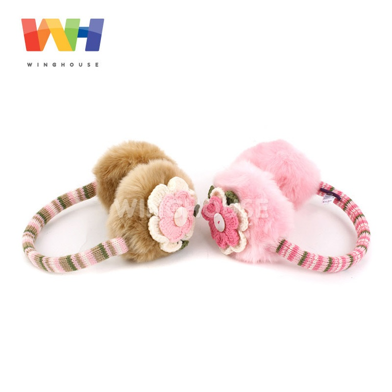 South Korea Winghouse Children Earmuffs Cute Flowers Decorated Earbags Girl Plush Earflaps Winter Headphones Kids Warm Ear Cover