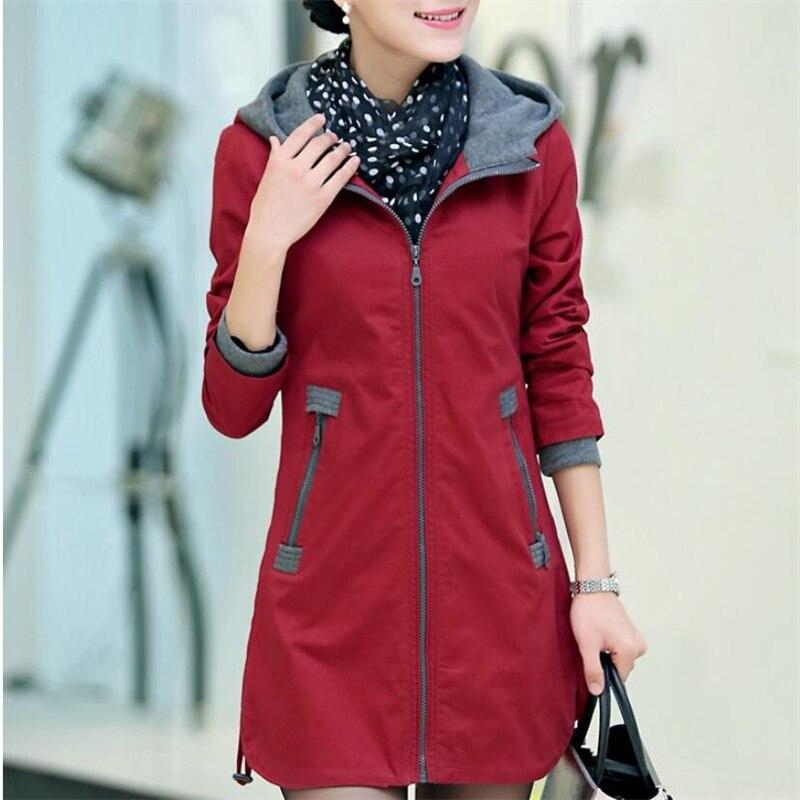 Pop Women   Trench   Coat Slim Fashion Plus Size 5xl Medium-long Windbreaker Patchwork Hooded Outwear Nice Autunm Winter