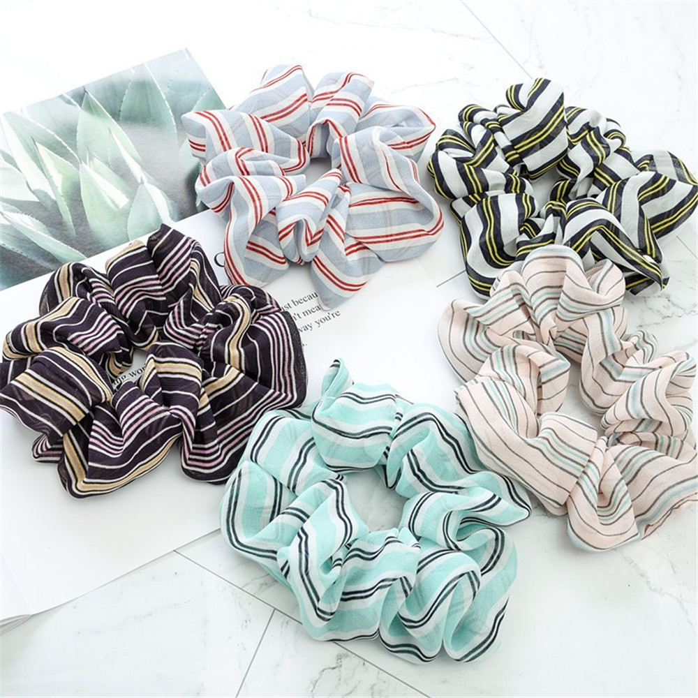New Fashion Girl Three-Dimensional Stripes Fabric Hair Scrunchy Ponytail Holder Hair Ties Gum Elastic Hair Bands Rubber Bands