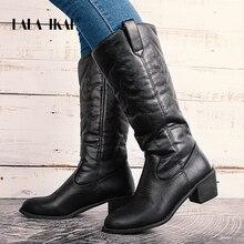 LALA IKAI נשים אמצע עגל מגפי חורף עור מפוצל כיכר העקב מגפי נקבה להחליק על מודפס נעלי טוטם מחודדת הבוהן מגפי WC4877 4
