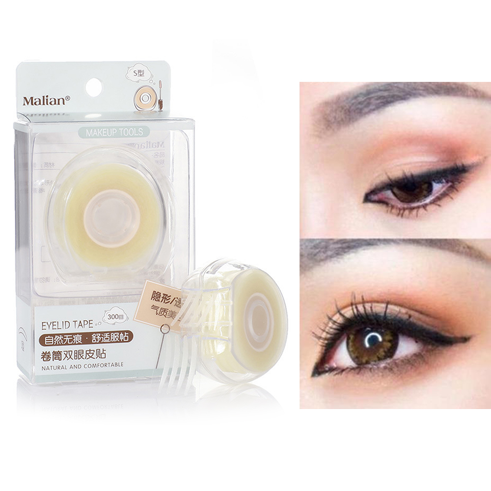 600pcs S/L Beauty Makeup Invisible Fold Lace Mesh Double Eyelid Tape Stickers Clear Beige Stripe Natural Big Eye Make Up Tool