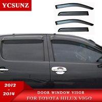Ventana deflectores de viento de accesorios de ventana protector para lluvia para Toyota Hilux Vigo 2012 2014|window wind deflectors|wind deflector|car window rain guard -