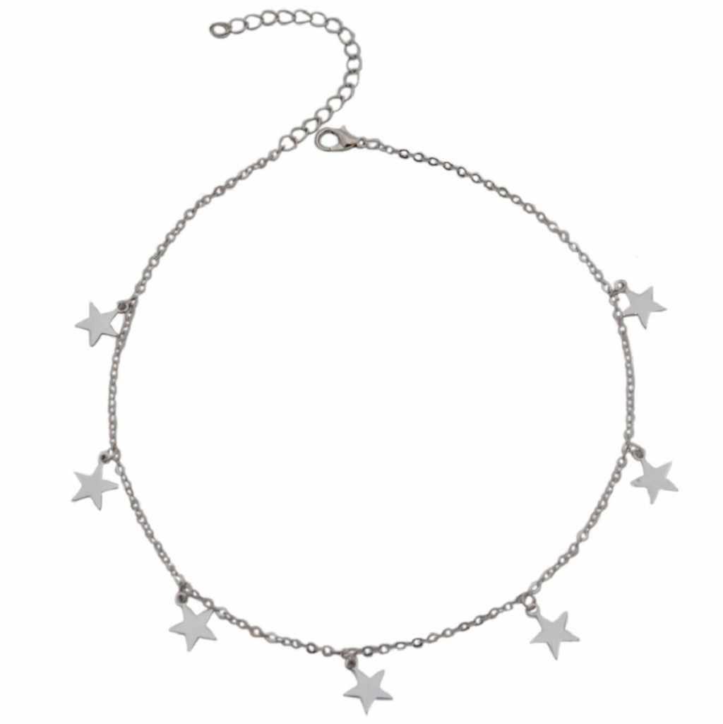 Nioworld colar feminino gargantilha link corrente correntes de ouro feminino jóias estrelas pingente geométrico corrente na moda colar de afirmação