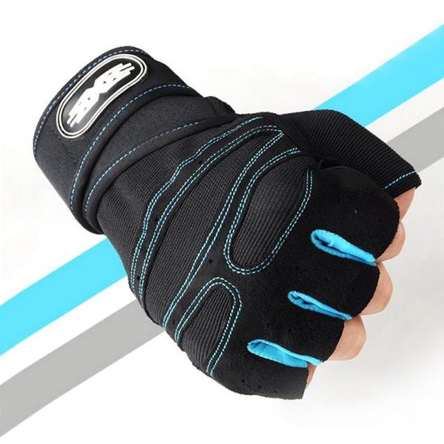 1 par prático esportes fitness antiderrapante respirável metade dedo luvas de esportes ao ar livre anti-suor ciclismo luva 5