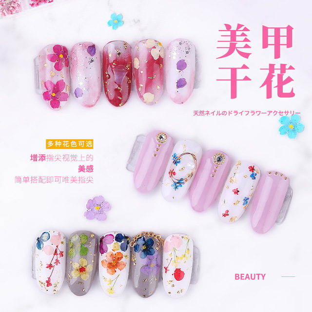1 Box 3D Dried Flower Nail Decoration Natural Floral Sticker Mixed Dry Flower DIY Nail Art Decals Jewelry UV Gel Polish Manicure 3