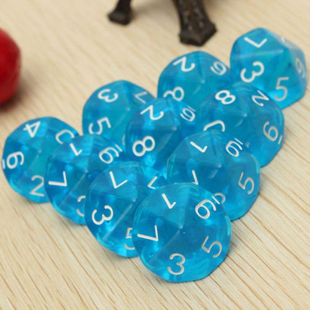 D10 Blue Ten Sided Gem Dice for RPG Dungeons & Dragons Games Set of 10 Dice