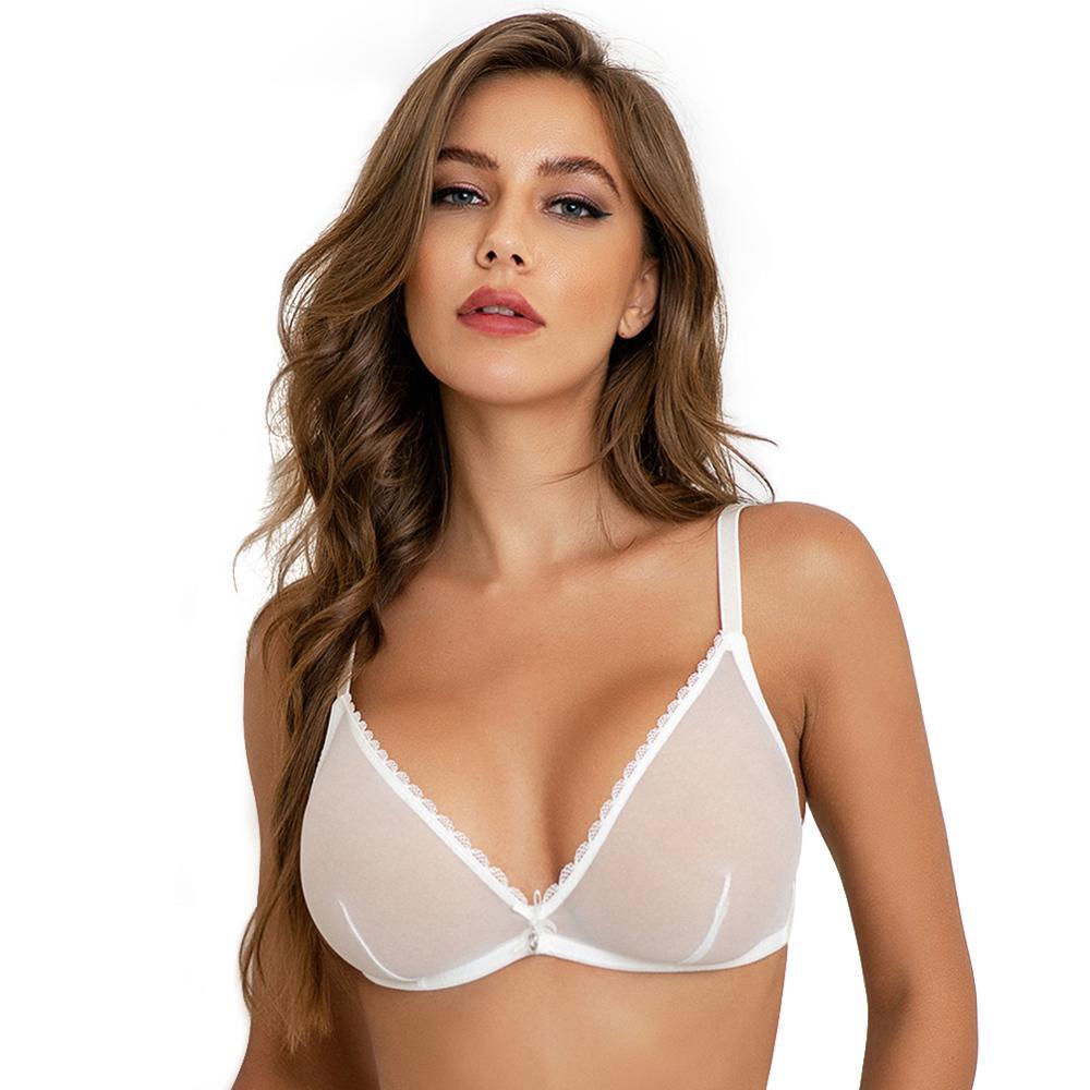 Women sexy underwear mesh See-Through lingerie Bra Black white Beige women underwear