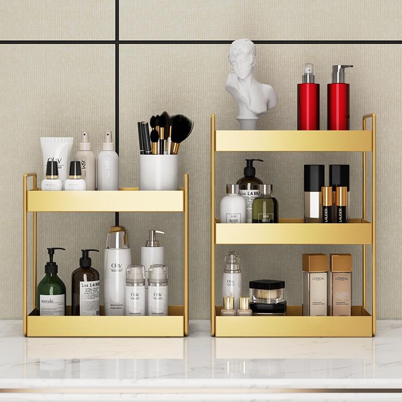 Двухслойная Большая вместительная Косметическая Подставка для хранения кухни, ванной комнаты, спальни, гостиной, стеллаж для хранения вещей, органайзер для макияжа|Коробки и ящики для хранения|   | АлиЭкспресс - Красивые полки для дома