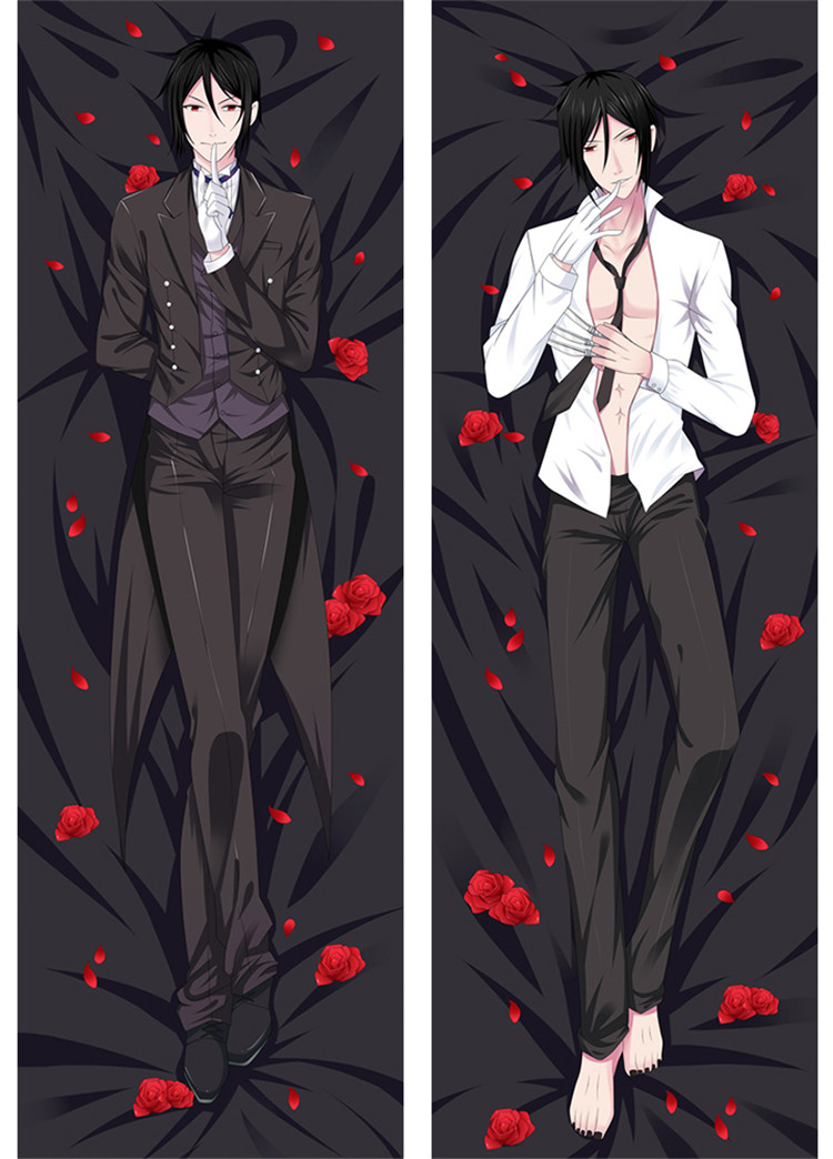Anime Fans Pillow Case Black Butler Sebastian Michaelis Sexy Pillow Cover Case Otaku Peach Skin 2 Way Hugging Body Pillowcase