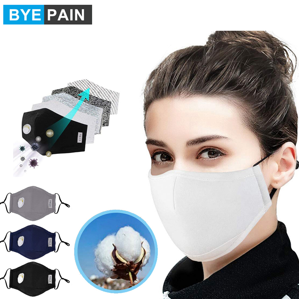 1Pcs BYEPAIN Fashion Unisex Cotton Breath Valve PM2.5 Mouth Mask Anti-Dust Activated Carbon Filter Respirator Mouth-muffle