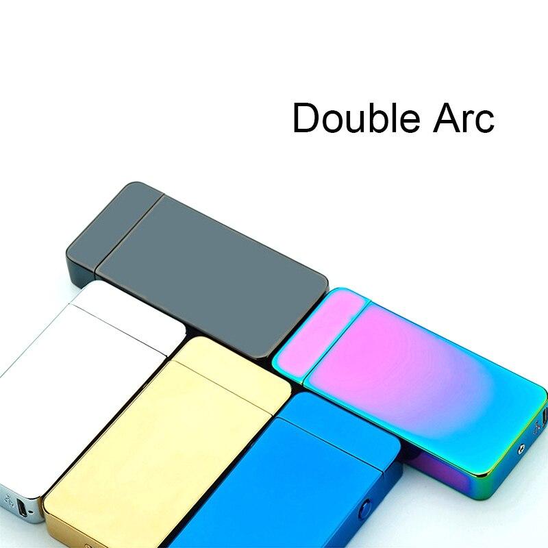 USB Lichtere Elektrische Dual Arc Metalen FlamelessTorch Oplaadbare Windaansteker Nieuwe Mode en Hot Selling-in Sigaret accessoires van Huis & Tuin op  Groep 2