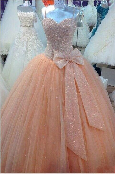 Quinceanera Ball Gown 2018 Real Image Spaghetti Sequins Bow Sweep Train Lace Up Back Party Gown Mother Of The Bride Dresses