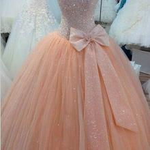 Quinceanera Ball Gown 2018 Real Image Spaghetti Sequins Bow Sweep Train Lace up Back Party Gown