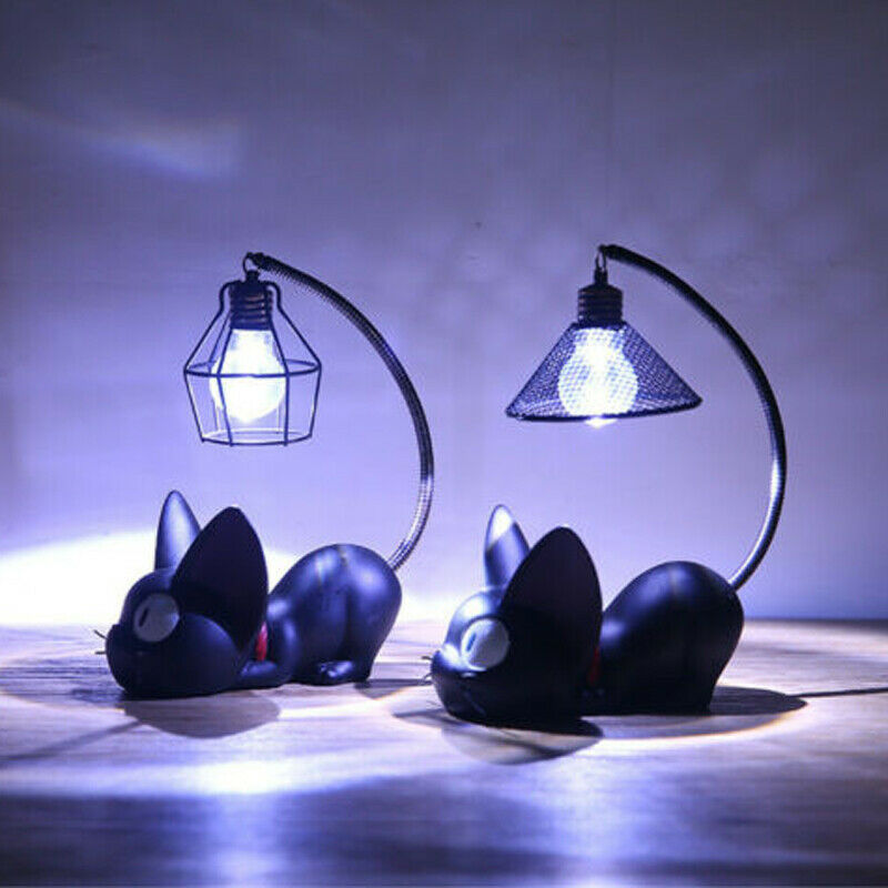 2020 HOT Selling LED Night Light Desktop Desk Lamp Black Jiji Cat Resin Crafts Decoration Room Figurines & Miniatures
