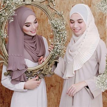 72*185cm Trendy Chiffon Pearls Scarf For Women Muslim Crinkle Hijab Femme Musulman Headscarf Islamic Foulard Shawls Head Scarves