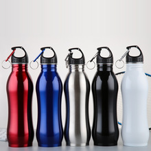 Hot slaes 750ML bpa-free 3 colors portable stainless steel sports kettle paint around body my water bottle Mountaineering buckle
