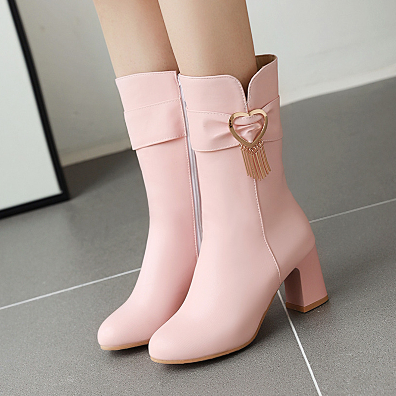 Women's boots with high heels and round short boots thic bottom women shoes cute bowknot cross bandage kawaii shoes loli cosplay