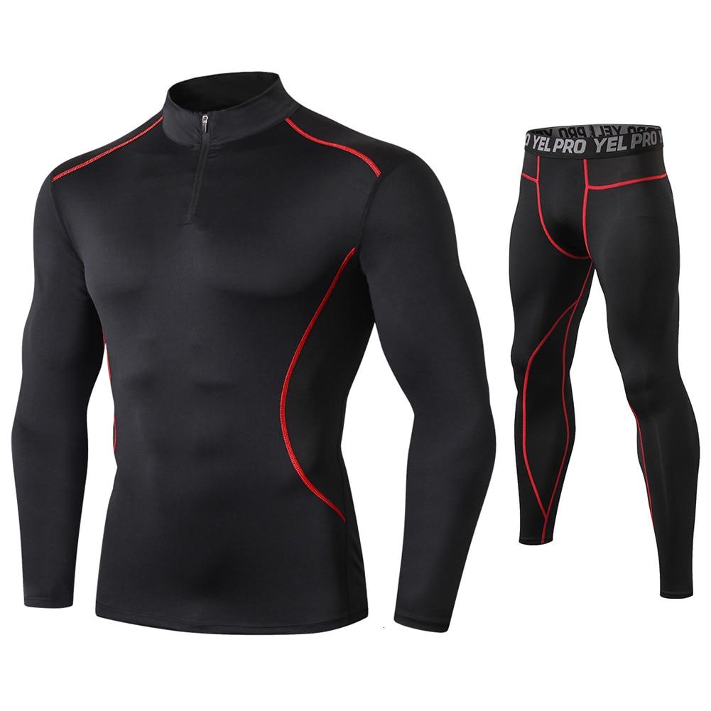 Men 2 Pcs Fitness Suit Running Set Quick Dry Gym Sportswear Long Sleeve T Shirt Legging Pants Tracksuit Men Sports Suits