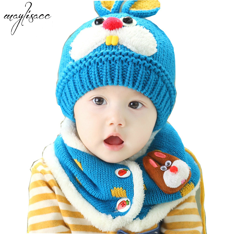 1-4 Years Old Children's Hat Scarf Set Winter Korea Cute Cartoon Rabbit Tooth Warm Velvet Ear Protection Knitted Hat Scarf Set