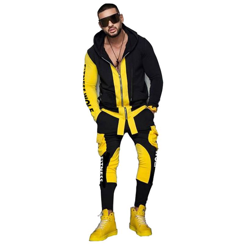 New Mens Tracksuit Set Sweatshirt Male Hoody Pant Two Piece Set Men Patchwork Print Fitness Sports Suit Sportswear Outfit 2019