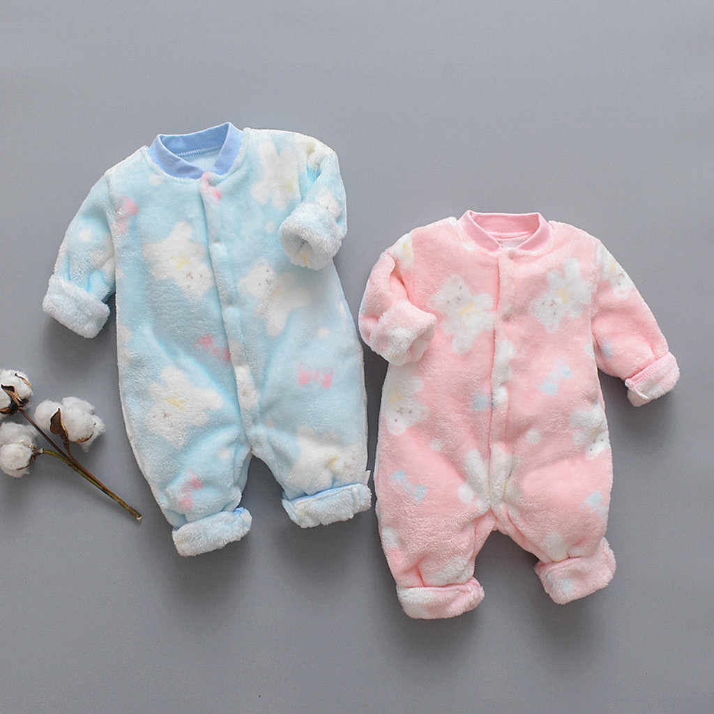 Newborn Baby button Cartoon Bear Fleece Hooded Romper Infant Boy Girl Jumpsuit Autumn Winter warm  Rompers Clothes One-Pieces