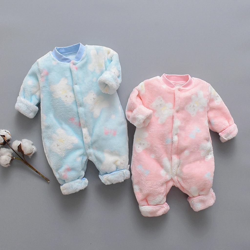 Newborn Infant Baby Jumpsuits 2019 New Winter Long Sleeve Cartoon Bear Plush Fleece Warm   Romper   Jumpsuit Soft Pajamas 0-18M