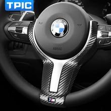 TPIC ألياف الكربون عجلة توجيه سيارة غطاء الكسوة لسيارات BMW F20 F21 F30 F34 E90 1 2 3 4 سلسلة الكانتارا الداخلية ملصق اكسسوارات